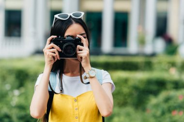 Brunette woman with glasses taking photo with help of digital camera stock vector