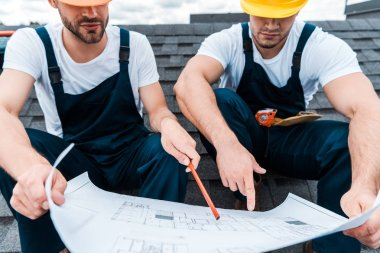 Cropped view of architect in helmet holding pencil near blueprint and coworker pointing with finger stock vector