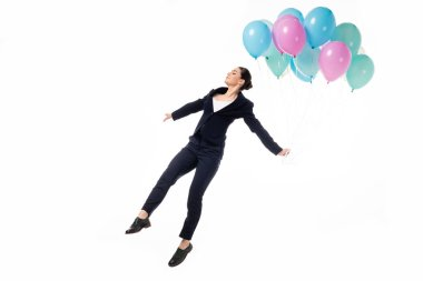 Attractive businesswoman in woman levitating with festive balloons isolated on white stock vector