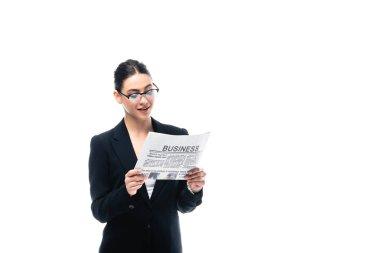 Elegant businesswoman in glasses reading business newspaper isolated on white stock vector