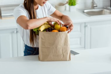 Cropped view of woman touching organic fruits in  paper bag stock vector