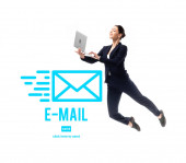 Fotografie smiling businesswoman levitating while using laptop near e-mail icon and click here to send lettering isolated on white