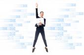 Fotografie Lächelnde Geschäftsfrau mit Laptop beim Sprung auf den Hintergrund mit E-Mail-Symbolen auf weißem Hintergrund
