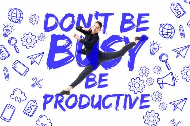 young businesswoman talking on smartphone while levitating on background with dont be busy be productive lettering, and multimedia icons isolated on white