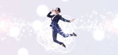 panoramic shot of businesswoman in virtual reality headset jumping on grey background with abstracts cyberspace illustration