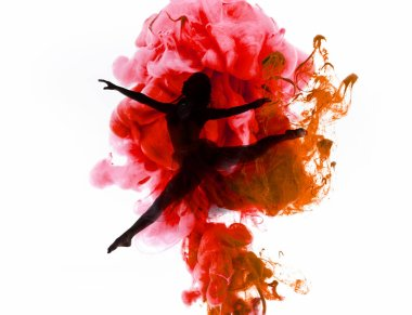 Silhouette of ballerina dancing in colorful pink and red smoke splashes isolated on white stock vector