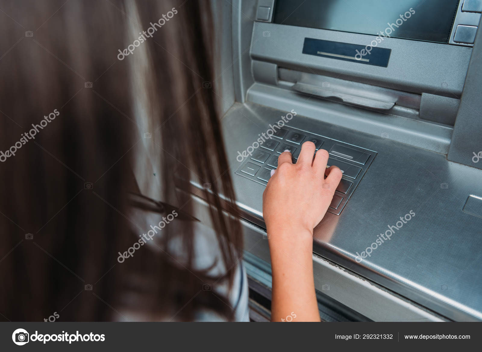Cropped View Woman Entering Pin Code Atm Machine — Stock