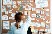 Hátulnézet üzletasszony mutatott ujját a marketing betűkkel a hirdetőtáblán