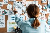 pohled na ženu, ukazující prstem na vývěsce s písmeny v kanceláři