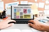 oříznuté zobrazení ženy pomocí přenosného počítače s marketingovými strategickými písmeny na obrazovce u rychlých poznámek