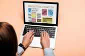 levágott kilátás nő gépelés-ra laptop-val marketing stratégia betűkkel a rózsaszín