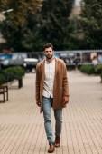 pohled na pohledného vousatého muže v elegantním kabátě v podzimním dne na ulici