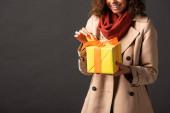 nyírt kilátás mosolygó nő viharkabát gazdaságban jelen fekete háttér