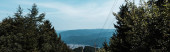 panorámás lövés fák közelében hegyek kék eget felhők