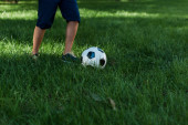 cropped view of boy playing football on green grass