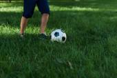 oříznutý pohled na chlapce hrajícího fotbal na zelené trávě