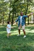 šťastný afroamerický otec a syn stojící na trávě v parku