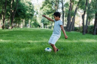 adorable african american kid playing football on green grass