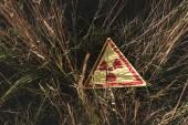 Fotografia vista superiore del triangolo con avvertimento simbolo tossico sullerba, concetto post apocalittico