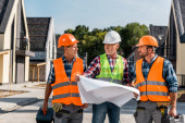 Fotografie mature builder holding blueprint near coworkers and houses