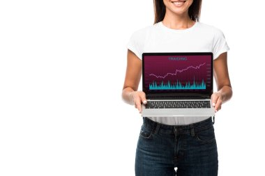 Beautiful smiling woman showing laptop with trading app, isolated on white stock vector