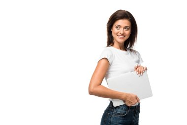 Beautiful smiling woman holding laptop, isolated on white stock vector