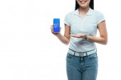 KYIV, UKRAINE - JULY 15, 2019: cropped view of happy brunette asian woman presenting smartphone with shazam app isolated on white