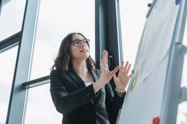 excited businesswoman showing explain gesture while standing near flipchart during business meeting