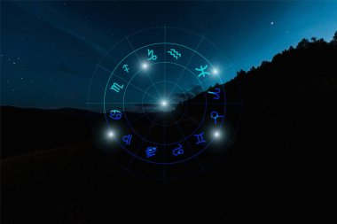 Dark landscape with night starry sky and zodiac signs illustration stock vector