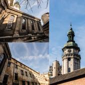 a bernardi kolostor és a korniakt torony belső udvarának kollázsa a kék ég ellen