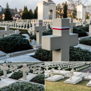 LVIV, UKRAINE - OCTOBER 23, 2019: collage of crosses on tombs with white and red ribbons on lychakiv cemetery in lviv stock vector