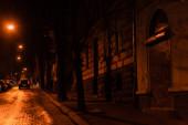 LVIV, UKRAINE - 23. OKTOBER 2019: Gebäude in der Nähe der Straße mit Auto in der Nacht