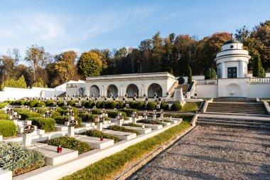 LVIV, UKRAINE - OCTOBER 23, 2019: graveyard with crosses and lettering near green trees on lviv defenders cemetery stock vector