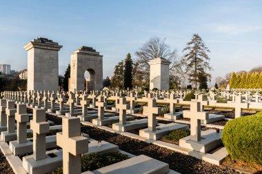 LVIV, UKRAINE - OCTOBER 23, 2019: gravestones with crosses on polish tombs in lychakiv cemetery in lviv, ukraine stock vector