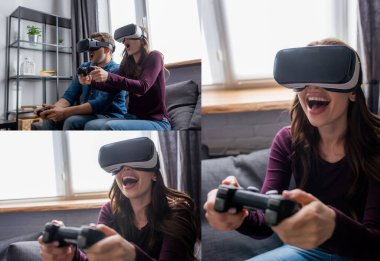 KYIV, UKRAINE - MAY 15, 2020: collage of emotional couple in virtual reality headsets playing video game in living room stock vector