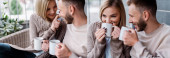collage of happy girl touching nose of boyfriend and drinking coffee outside