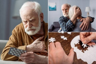 Collage of senior man feeling bad and holding pills, man hugging wife sick on dementia, and woman collecting jigsaw puzzle stock vector