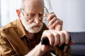 senior man putting eyeglasses on, while sitting with walking stick