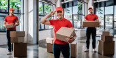 Photo collage of happy and tattooed delivery man touching cap while standing near boxes