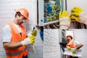 Koláž pohledného elektrikáře držícího nákres a upevňujícího vodiče u rozvodné skříně