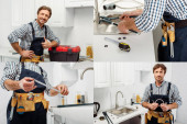 Photo Collage of workman in tool belt fixing faucet and showing thumb up in kitchen