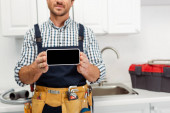 Fotografie Ausgeschnittene Ansicht von Klempner hält Smartphone mit leerem Bildschirm in Küche