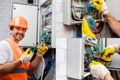 Collage of smiling electrician fixing electric panel and checking voltage with multimeter