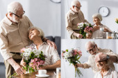 Fotografie Collage of senior man giving floral bouquet to smiling wife during breakfast in kitchen