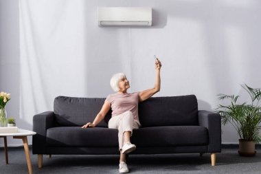 Smiling senior woman switching air conditioner with remote controller on couch stock vector