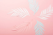 top view of white, pink and blue paper cut palm leaves on pink background