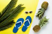 zöld pálmalevelek, ananász, napszemüveg és kék flip papucs tetejére néző fehér és sárga alapon