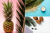 collage of green palm leaves, coconuts, pineapple, summer accessories and planner on white, pink, blue background
