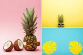 trópusi gyümölcsök, napszemüveg és papírpálma levelek kollázsa rózsaszín, kék és sárga alapon