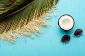 vrchní pohled na zelený palmový list, kokosová půlka, sluneční brýle a slaměný klobouk na modrém pozadí